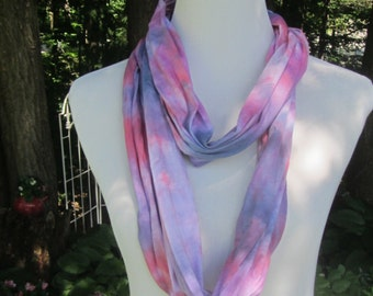 Hand dyed red and blue infinity jersey knit cotton scarf