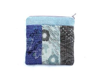 kantha pouch, patchwork purse, jewellery purse, coin purse, makeup purse