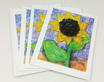 Whimsical Sunflower Note Cards, Mixed Media Sunflower Art Print Blank Greeting Cards