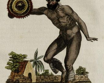 1828 Antique print of a HAWAIIAN DANCER. Hawaii Islands. Hawaiian culture. Warrior. 188 years old print