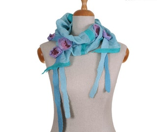 SALE!!!  felt, nuno felted necklace, collar, gorget, ocean turquoise with violet and rosy flowers - by inmano