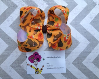 Woodland Creatures Boutique Hair Bow