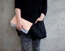 Clutch, foldover clutch, apricot leather, silver fabric, party clutch, cosmetic bag, makeup bag, handmade,