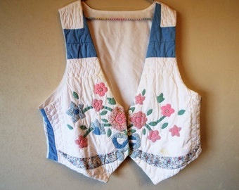 Vintage Hand Pieced and Quilted Vest