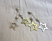 80s Sterling Silver and Brass LUCKY STAR Earrings - 3 Inches Long - Beautiful Patina