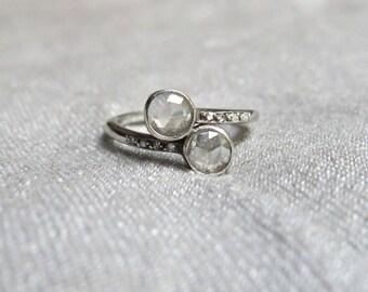 "Edwardian Rose Cut Diamond ""Toi et Moi"" Style French Engagement Ring - 1.35 carats - 14K Gold"