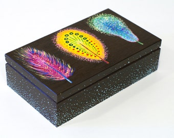 Hand painted box for jewelry Box art feathers Wood box Feather Tribe Gift Box One of a kind Storage Box Wooden box Unique box Feather box