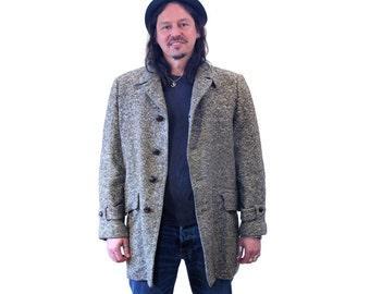 "50s McGregor Coat, Donegal Tweed Insulated Wool Coat, ""Cold Weather Sportswear"" Men's Vintage Coat Size L"