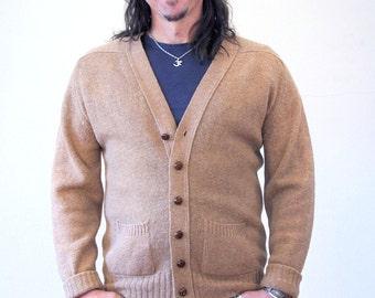 70s Cardigan Sweater, Brown Virgin Wool Cardigan, 1970s Cardigan, Raglan Sleeves, Leather Look Buttons, Grandpa Cardigan Size L