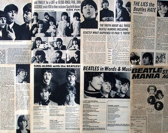 THE BEATLES ~ John Lennon, Paul McCartney, George Harrison, Ringo Starr, Love Me Do ~ B&W Articles from 1965-1974 - Batch 1