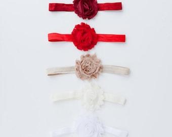 Baby Headbands - Shabby Rose Headbands - Shabby Chic Headbands - Newborn Headbands - Baby Flower Headbands - Toddler Headband - Headband Set
