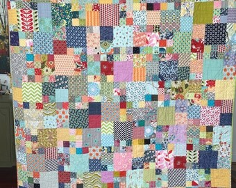 Lap, throw, couch, scrappy patchwork quilt blanket heirloom bright colorful twin