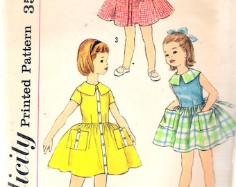 Vintage 1960's Simplicity 2486 Girl's One-Piece Party Dress Sewing Pattern Size 6 Breast 24""