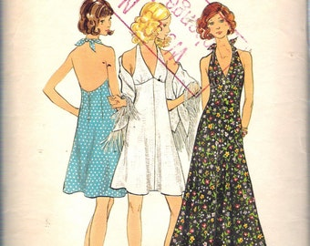 "Vintage 1970's Butterick 6634 Halter Neck Dress & Shawl Sewing Pattern Size 10 Bust 32 1/2"""