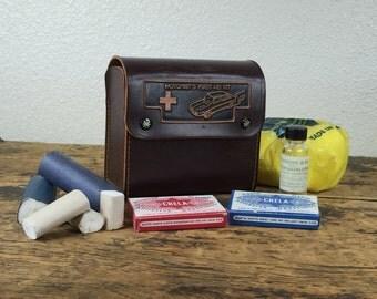 Vintage Motorists First Aid Kit / Leather Case