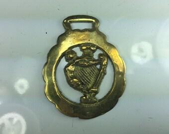 Vintage Harp Horse Brass Medallion