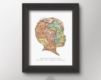Custom Map Silhouette Print with YOUR child's silhouette and home, Custom Portrait, Vintage Map, Cameo, Personalized Gifts, Mothers, Grandma