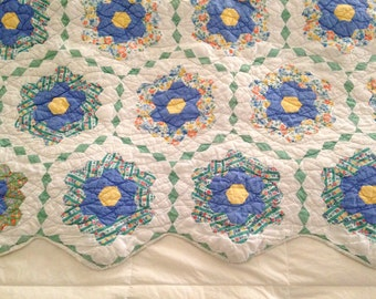 Antique Quilt, Grandmother's Garden Pattern, Blue and Green Feed Sack Quilt with Zig Zag Edge, Flower Garden Quilt, Heavy Batting