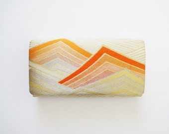 Vintage Japanese Kimono Silk Clutch Purse / Bag  in Cream, Peach, and Orange with Gold Thread