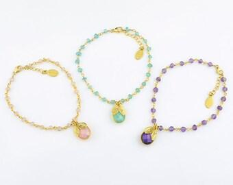 Custom Bridesmaid Bracelet, initial bracelet March Birthstone, aqua chalcedony wire wrapped bracelet, adjustable bracelet personalized