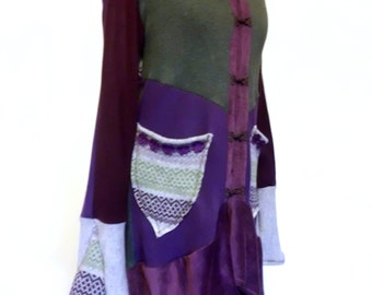 Patchwork Cardigan Coat Recycled Sweaters