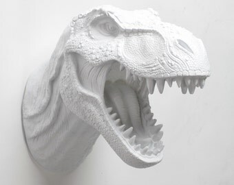 T Rex Head White Dinosaur Wall Mount, The Bronson, Resin T-Rex Head Wall Art White Faux Taxidermy, Dinosaur Head Jurassic Decor