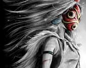 Princess Mononoke San Fury Digital Painting - signed museum quality giclée fine art print