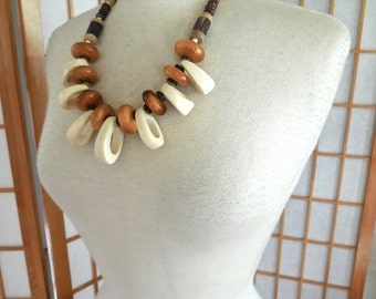Vintage 70s Primitive Necklace with Large Bone and Wood Beads OOAK Statement