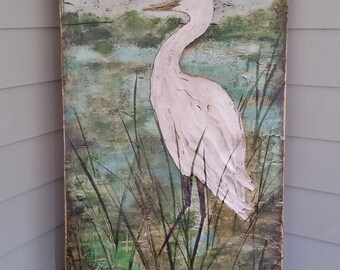 Original Heron Painting, Coastal Art, Large Wall Art, Textured Painting 24x48 Deep Edge Wood Canvas