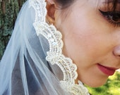 Off White Fingertip Lace Edged Veil