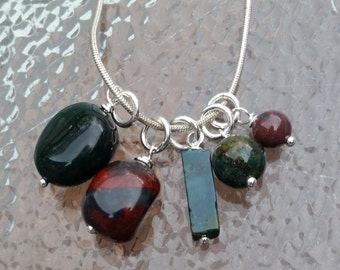 Bloodstone Wrapped in Sterling Silver - Add a Charm