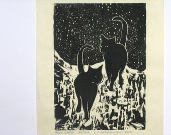 Two Cats Original Woodcut Print Limited Edition 35/125 Woodblock by Lawrence Goldsmith on Mulberry Paper