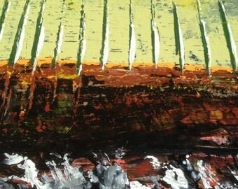 "ORiGiNAL ""White Caps Orange Horizon Abstract ""  - original Acrylic Painting with vintage wood frame   -   37"" X 18""  - (17-3010)"