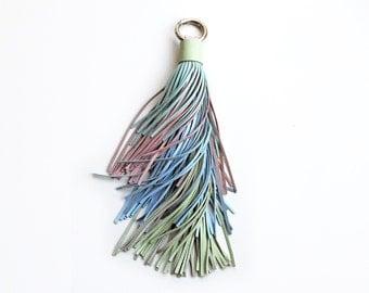 Pastel leather tassel keychain, Large Pastel tassel