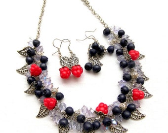 Blue Jewelry,Berries,Berry Jewelry,Spring Jewelry,Charm Jewelry, Berry Earrings, Dangle Earrings, Handmade Necklace And 2 Pairs Of Earrings