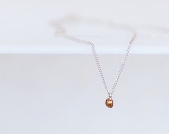 silver necklace with golden drop