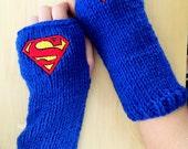 SUPERMAN DC COMICS Arm warmers / Fingerless gloves / Wrist warmers handmade