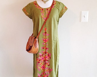 Vintage Ethnic Boho Embroidered Hippie Tunic Dress