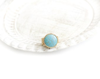 Adjustable Round Turquoise Stone Gold Plated Ring