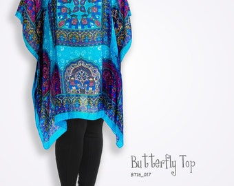 Bright fabric silk elephant kaftan, unique fabric, pink & turquoise dress, gift for elephant lover, tourquoise beach cover up, plus size top