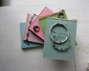 Pastel Book Stack - Jewelry Display Risers - Hand Cut Books - Stackable Necklace, Bracelet and Ring Displays - Home Decor - Recycled Books