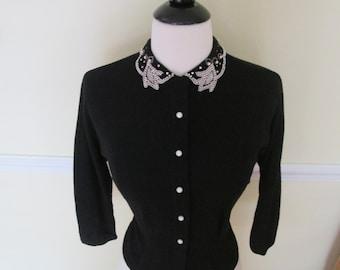 Amazing Vintage 1950s 50s Ink Black Batwing Dolman Sleeves Sweater Cardigan w. Rhinestone & Pearl Beads Collar -Pinup-Bombshell-Vixen-VLV