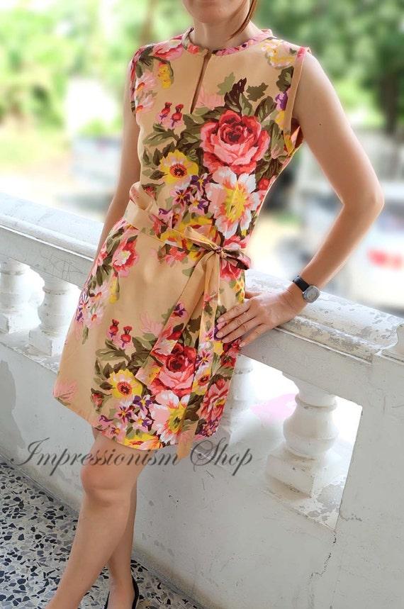 Beige floral wedding dress bridesmaid dress vintage style for Beige dress for wedding guest