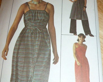 7751 Simplicity Sz 6 & 8 Contains Two Sizes Pattern Misses' Jiffy Dress or Tunic and Pants Vintage 1976 Uncut