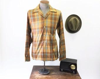 1950s Penneys Towncraft Men's Vintage Mad Men Era Brown & Blue Plaid Long Sleeve Board Shirt - Size MEDIUM