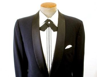 Vintage Men's Western Tie or Continental Bow Tie Black Crossover Pearl Snap Mid Century Country Western Rockabilly Bowtie Wedding Groom