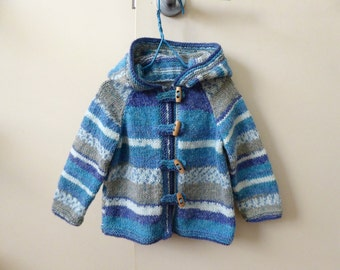 Knitted blue baby hoodie | sweater with toggle fastenings & fairisle stripes | hooded jacket fit girl or boy to 10 months