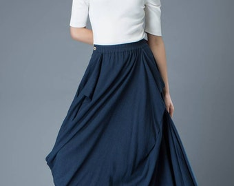 Blue Linen Skirt - Casual Boho Ruched Asymmetrical Everyday Comfortable Women's Skirt with Elasticated Waist Plus Size C830
