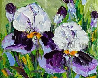 Iris Art Small Oil Painting Purple Flower Textured Impasto Knife Mini Small Canvas Framed or Unframed Option Wedding Gift for Her 6x6