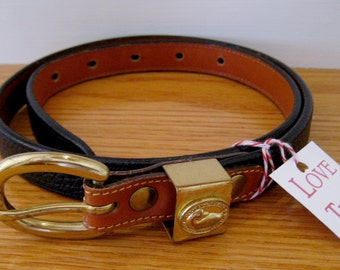 RARE Navy Blue Dooney and Bourke Belt Size Small - Retired All Weather Leather Dooney Belt with Brass Buckle - Navy Belt Size Small 26-28